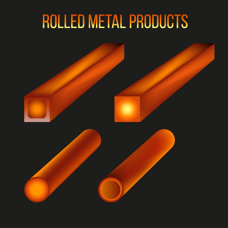 Hot rolled metal products. Vector illustration isolated on black background
