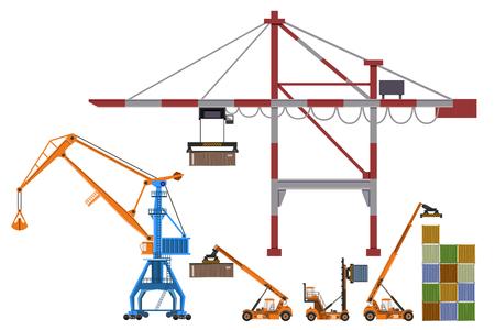 Conjunto de cargadores de contenedores, grúas pórtico y grúas niveladoras. Ilustración de vectores aislado sobre fondo blanco