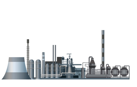 Heavy industry factory. Vector illustration isolated on white background Çizim