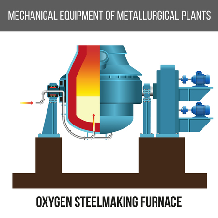 Oxygen steel making furnace, converter, vector illustration isolated on white background.