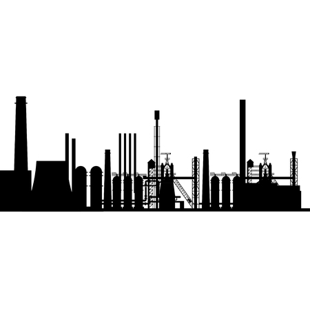 Silhouette of the industrial plant vector illustration isolated on white background.