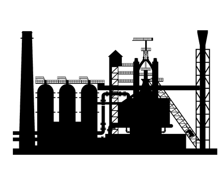 Silhouette of the blast furnace shop. Vector illustration isolated on white background Çizim