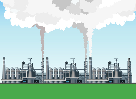 Industrial landscape with the image metallurgical plant, blast furnaces and fuming pipes Stock Illustratie