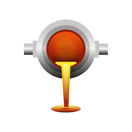 Liquefied metal poured from ladle icon Illustration