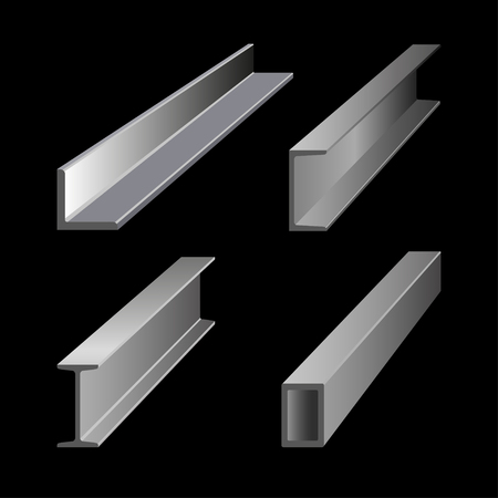 Steel structural metal vector illustration isolated on a black background