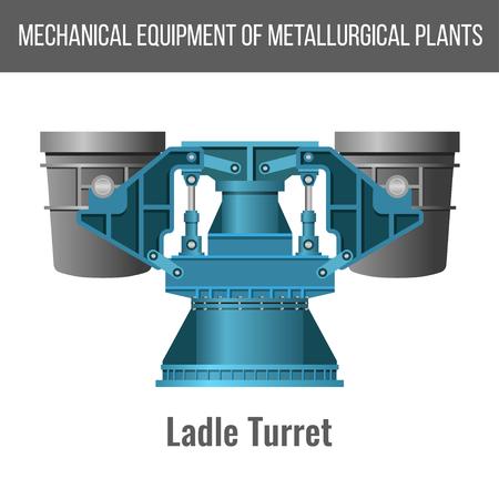 Equipement mécanique des usines métallurgiques. Tourelle de poche pour la fabrication d'acier. Illustration vectorielle isolée sur fond blanc Vecteurs