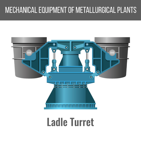 Mechanical equipment of metallurgical plants. Ladle turret for steel making. Vector illustration isolated on white background