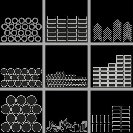Profili metallici di diversi tipi sono impilati sugli scaffali del magazzino. Illustrazione vettoriale su sfondo nero. Vettoriali