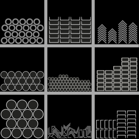 Metal profiles of different types are stacked on warehouse shelves. Vector illustration on black background.