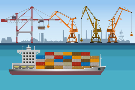Seaport landscape with port cranes and cargo ship. Vector illustration