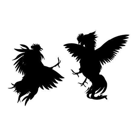 Sylwetki walczących kogutów. Ilustracja wektorowa na białym tle
