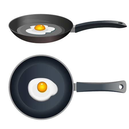 Fried egg on frying pan with front view and side view. Vectores