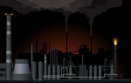 Industrial landscape with the image metallurgical plant and fuming pipes vector illustration.
