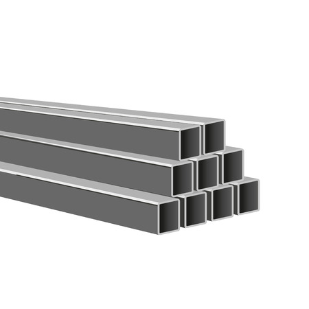 Pile of steel square tubes vector illustration isolated on white background.