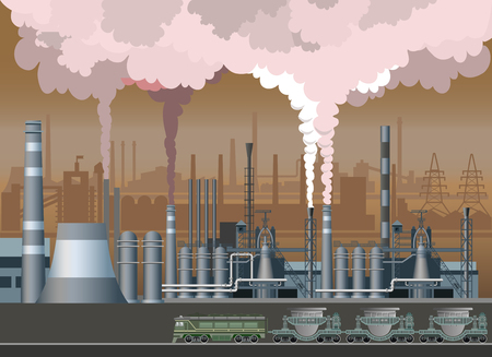 Industrial landscape with the image metallurgical plant and fuming pipes. Vector illustration Çizim