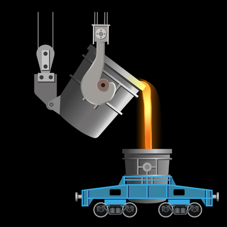 Casting of steel from ladle. Vector illustration isolated on black background Illustration