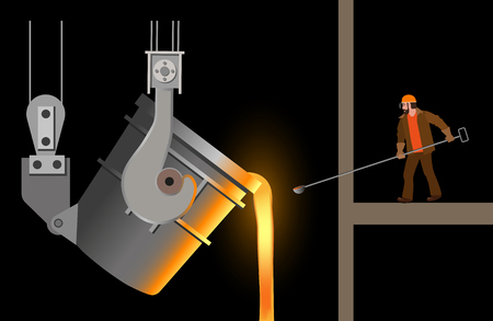 Steelmaker near the steel casting ladle. Vector illustration isolated on black background Vettoriali