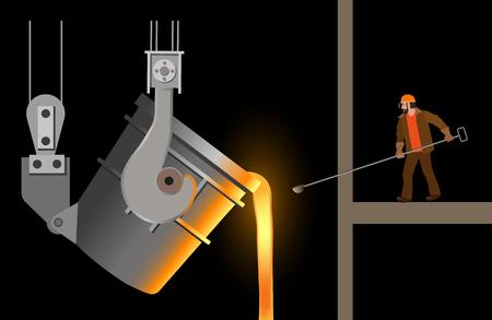 Steelmaker près de la poche de coulée en acier. Illustration vectorielle isolée sur fond noir Vecteurs
