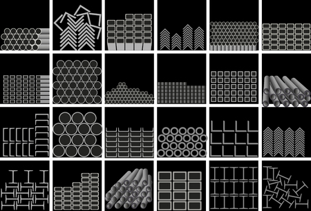 Metal profiles of different types are stacked on warehouse shelves. Vector illustration on black background