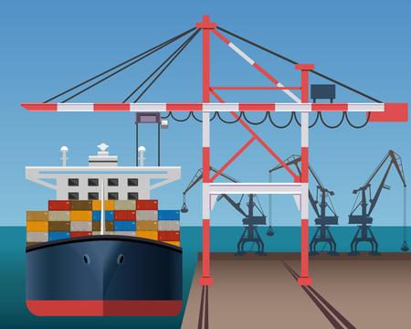 Zee vrachthaven met containerschip en kranen vectorillustratie.