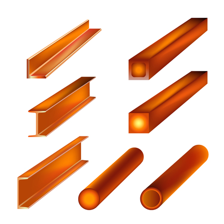 Hot rolled metal products. Vector illustration isolated on white background