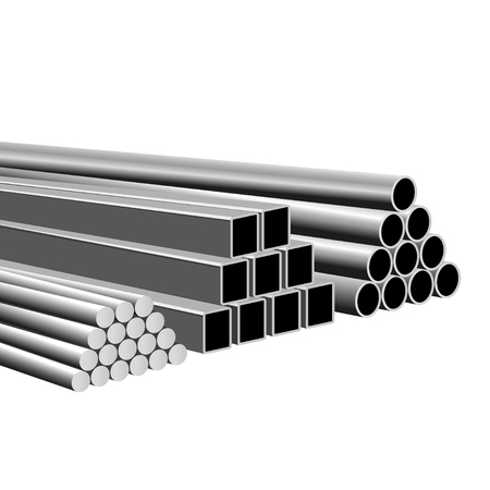 Rolled metal products. Piles of metal pipes, round bars and square tubes. Vector illustration isolated on white background