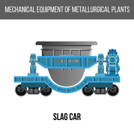 Railway slag car. Vector illustration isolated on white background