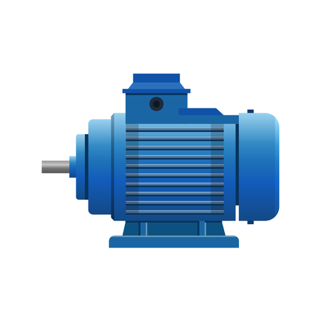 Industrial electric motor. Vector illustration isolated on white background.