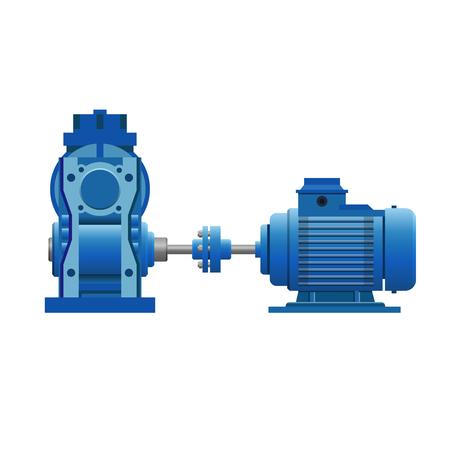 Inductiemotor met versnellingsset. Vector illustratie geïsoleerd op een witte achtergrond Vector Illustratie