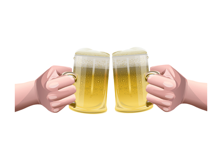 Two hands holding two beer glasses. Vector illustration isolated on white background.