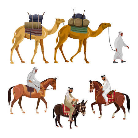 Set of vector pack - camel, horse and donkey. Illustration isolated on white background Çizim