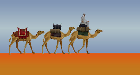 Caravan of camels in the desert against the background of a dimming sky. Vector illustration Stock Illustratie