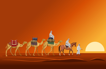 Caravan of camels walking in the desert on a sunset background. Vector illustration Иллюстрация