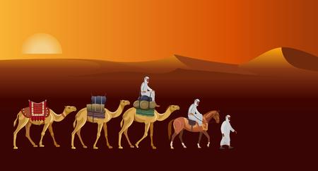 Caravan in the desert against the background of the rising sun. Vector illustration Иллюстрация