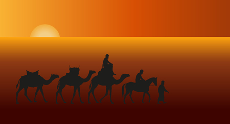 Caravan of camels in the desert against the setting sun. Vector illustration