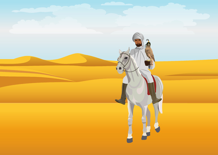 Falconry. Lonely Arab horseman in the desert. Vector illustration