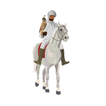 Arab man in traditional clothing riding his horse with falcon. Vector illustration isolated on white background