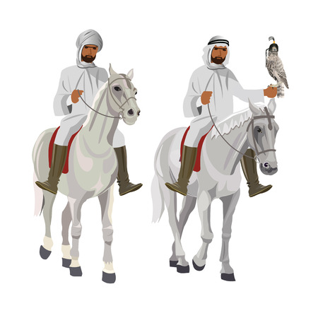 Two arab horsemen on falconry. Vector illustration isolated on white background Vectores