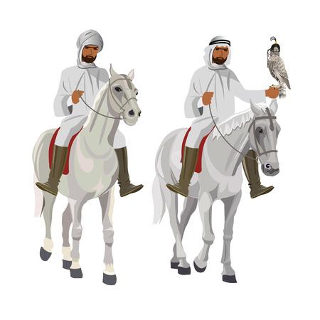 Two arab horsemen on falconry. Vector illustration isolated on white background Ilustração