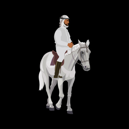 Arab man in traditional clothing riding his horse. Vector illustration isolated on black background.