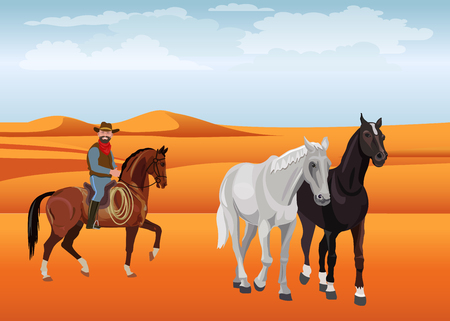 Cowboy and a pair of horses in the desert. Vector illustration. Illustration