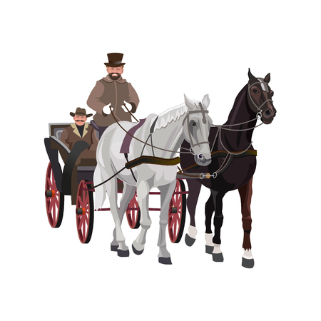 Horse-drawn carriage. Vector illustration isolated on white background.