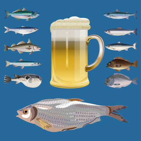 Fish set and mug of beer. Vector illustration isolated on blue background.