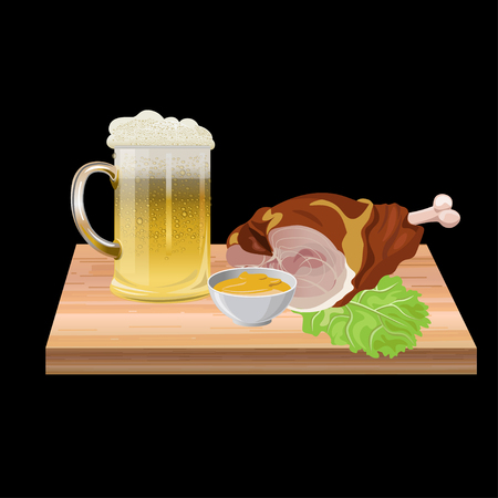 Pork knuckle with beer. Vector illustration isolated on white background.