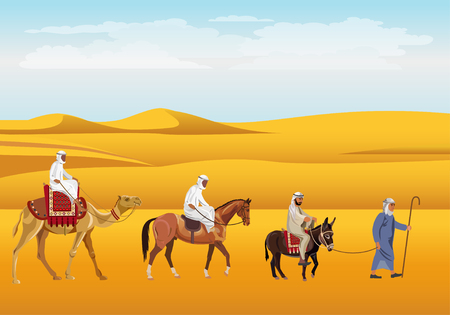 Caravan in the desert. Donkey, horse and camel. Vector illustration.