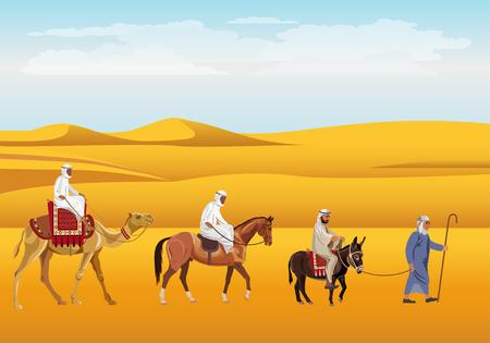 Caravan in the desert. Donkey, horse and camel. Vector illustration.