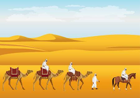Caravan in the desert. Vector illustration design.