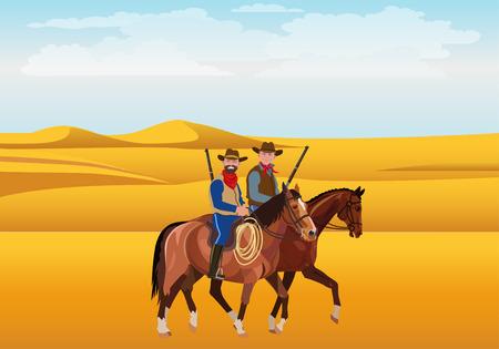 Two cowboys on horseback in the desert. Vector illustration