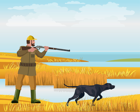 Hunter is aiming from his gun. The dog finds and points out the location of birds. Vector illustration.
