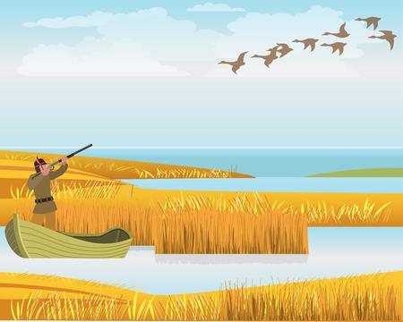 Hunter in boat shoots ducks. Vector illustration